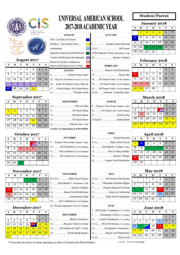 march 2018 calendar kuwait