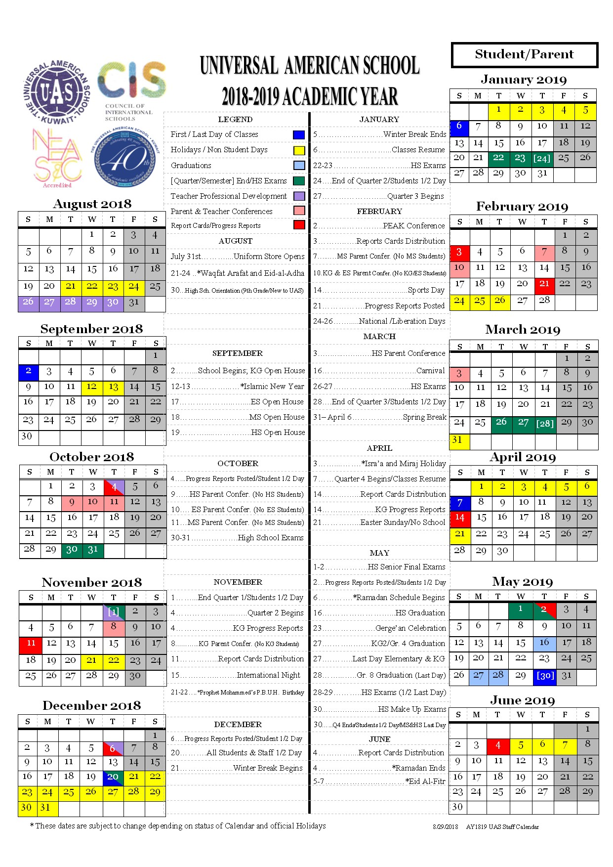 Calendar 2018 Kuwait Holidays