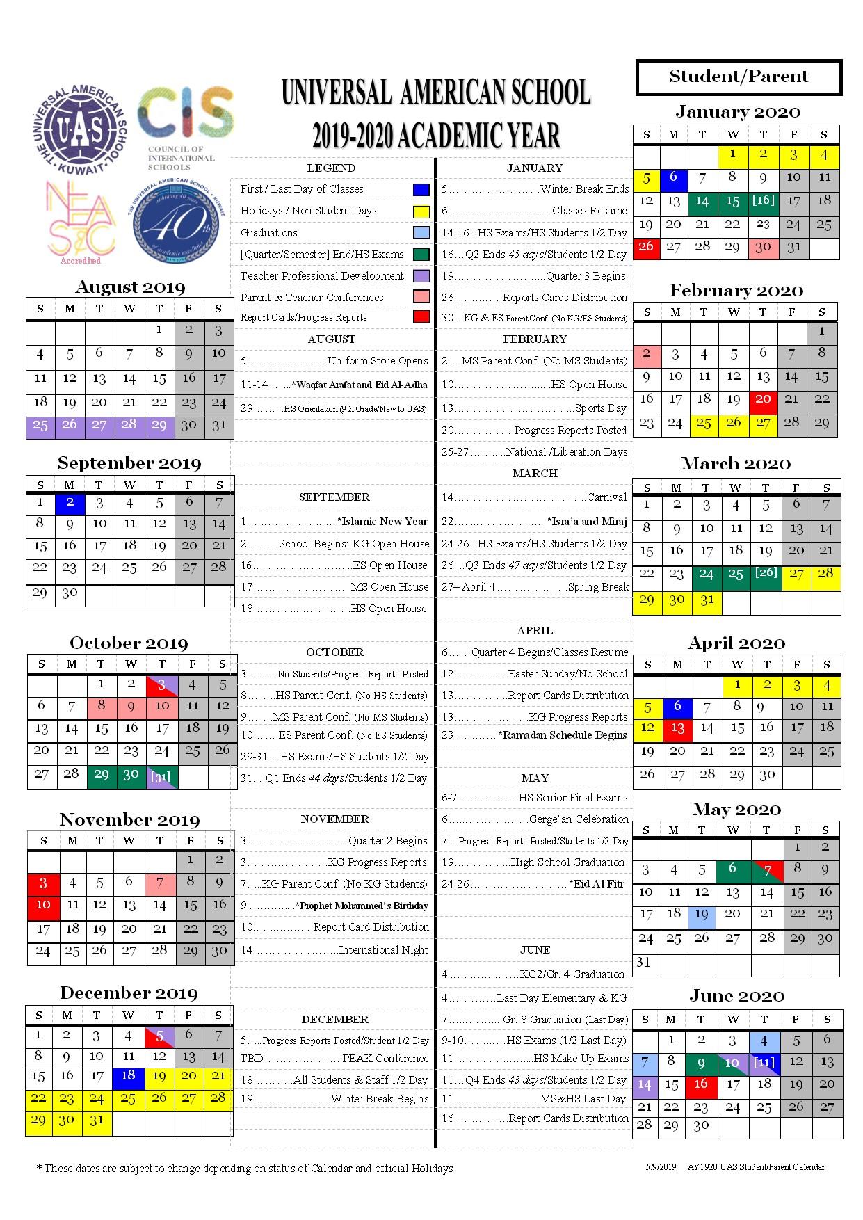 2020 2020 Calendar.Students Calendar 2019 2020 Universal American School
